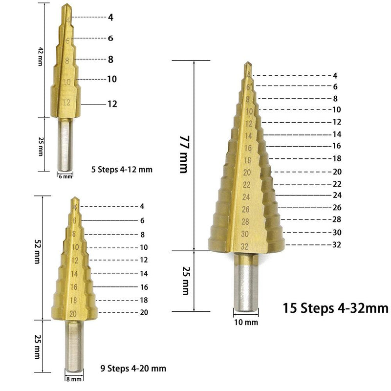 3 PCS HSS Titanium Coated Cone Step Drill Bit Set, Metric 4-12/20/32mm - PAPA BEAR HOME