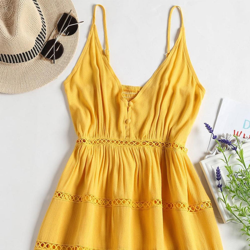 Hollow Out A Line Cami Dress - Yellow - PAPA BEAR HOME