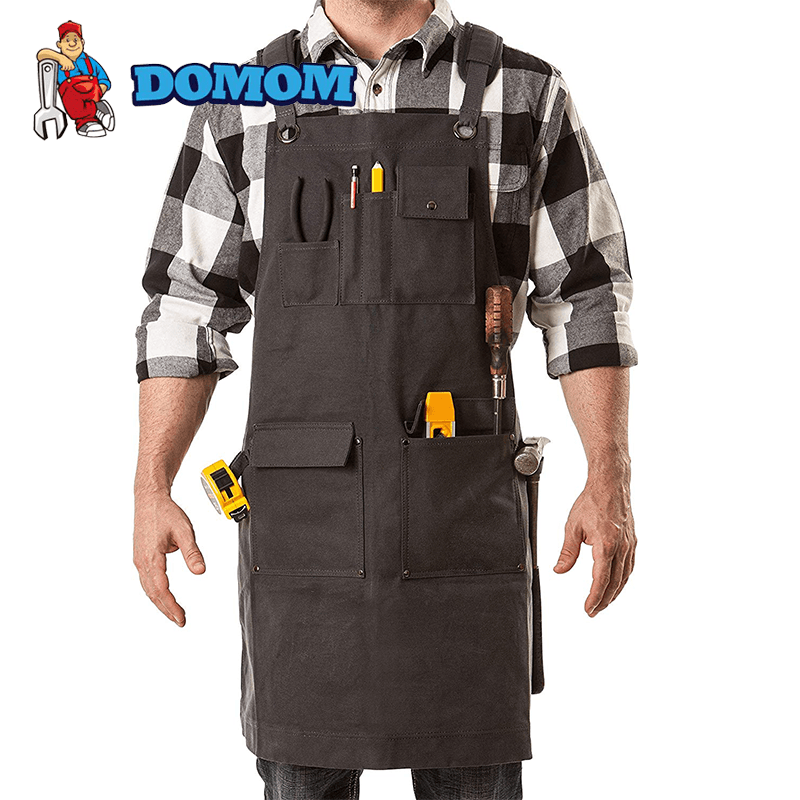 Domom Waxed Canvas Tool Apron With Pockets - PAPA BEAR HOME