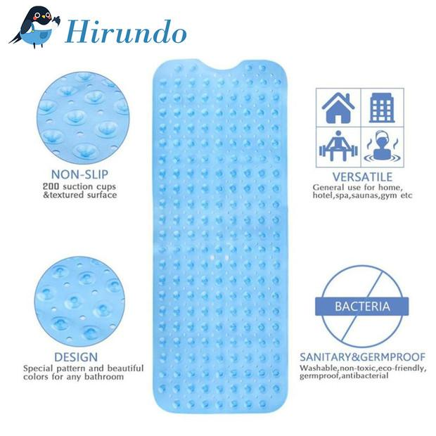Hirundo Large Long Non Slip Bathroom Bath Mat for Tub and Shower - PAPA BEAR HOME