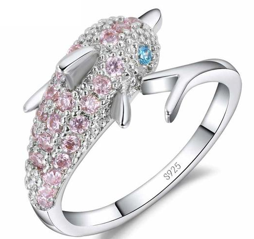 Pink Crystal Dolphin Ring