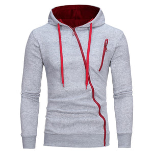 Novel Diagonal Zipper Hoodie