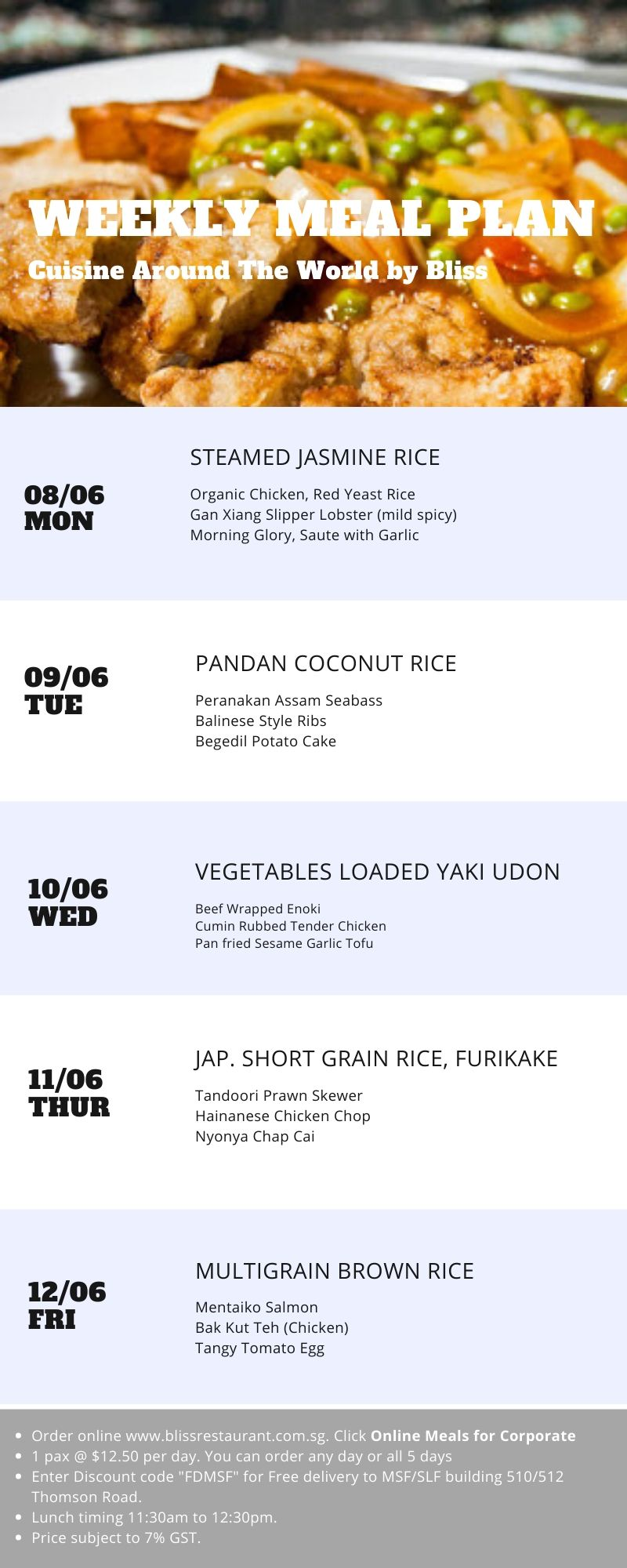 Weekly Meal Plan - $12.50 per day (MSF&P) - 8 to 12 June