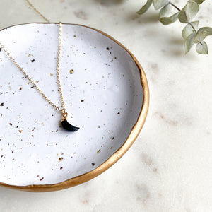 Black Onyx I Mini Moon Crescent Necklace