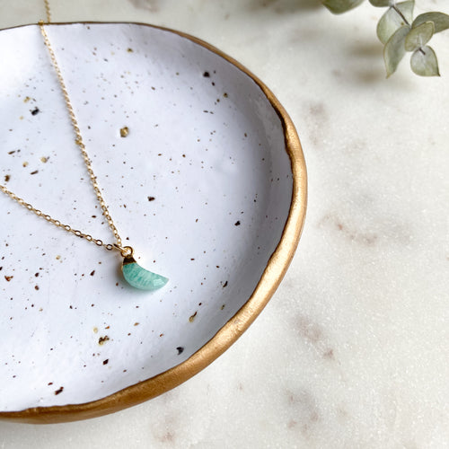 Amazonite I Mini Moon Crescent Necklace