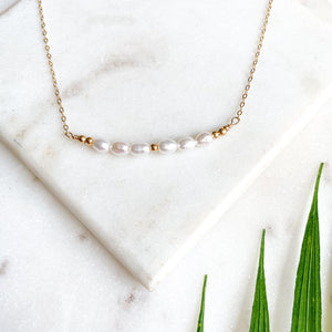 Mother of Pearl Bar I Gold-Filled Necklace