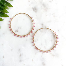 Load image into Gallery viewer, Strawberry  Quartz I Gemmed Endless Hoops