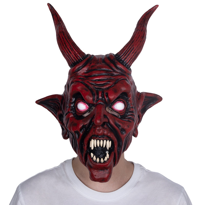 Realistic Scary Halloween Masks.Red Devil Scary Halloween Latex Mask