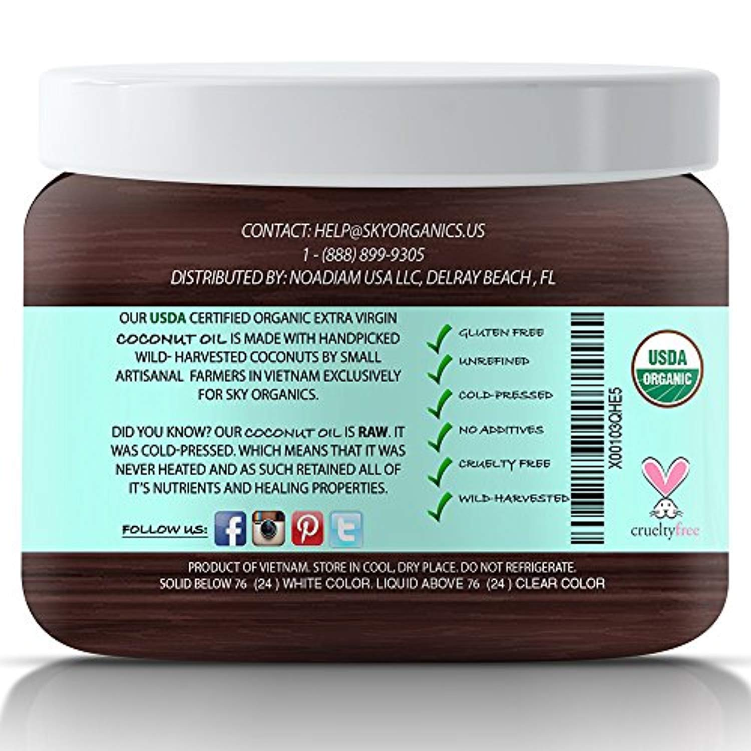 Organic Extra Virgin Coconut Oil by Sky Organics 16.9 oz-
