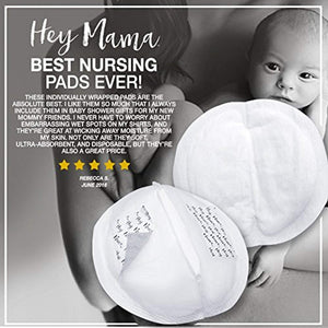 Hey Mama Disposable Nursing Pads - (120) Super Absorbent, Ultra Comfortable & Individually Wrapped