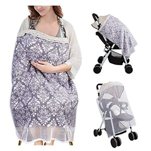 Nursing Cover for Breastfeeding Multi-Use Breastfeeding Cover 2 in 1 Baby Carseat Cover with Mosquito Net