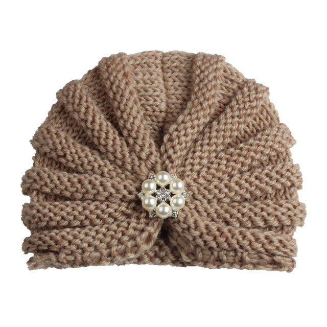 Fashion Winter Baby 1pc Girl Hats with Pearls