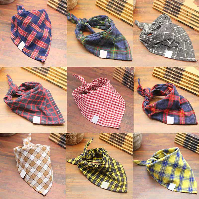 FancyQube Plaid 1pc Bandana Baby Bibs (Multiple Colors)