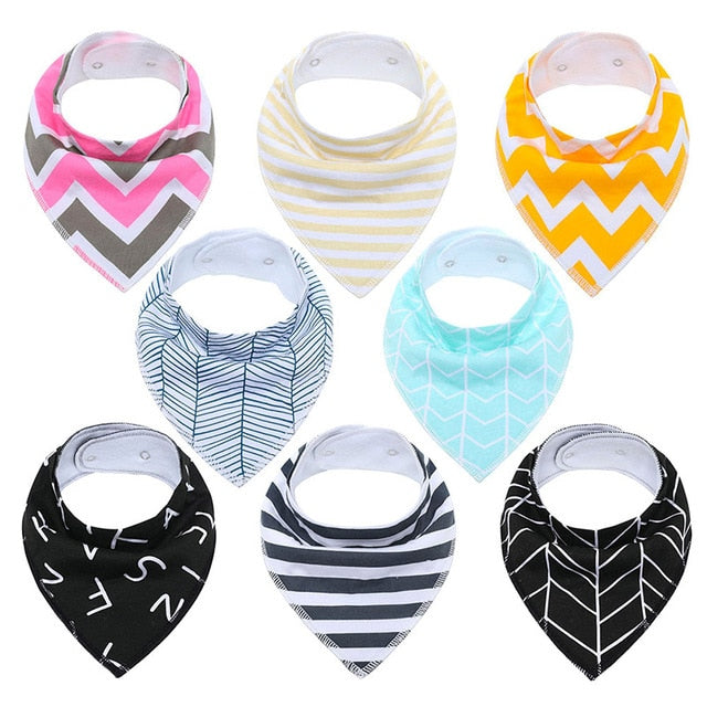Egmao 8pcs Bandana Baby Bibs (Multiple Colors)