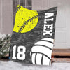 Custom Blankets Softball Volleyball Personalized Blanket - Perfect Gift For Son - Fleece Blanket