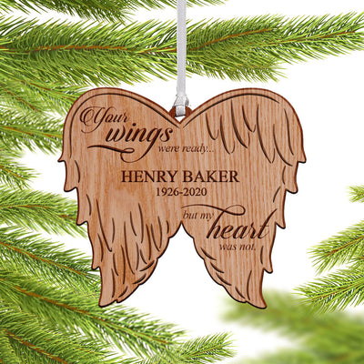 Personalized Your Wings Were Ready Memorial Wings Christmas Ornament