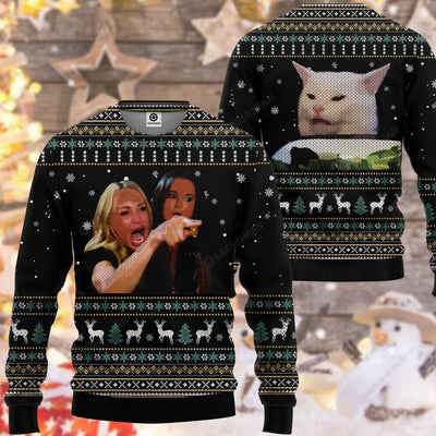3D Ugly Woman Yelling At A Cat Custom Tshirt, Christmas Sweater