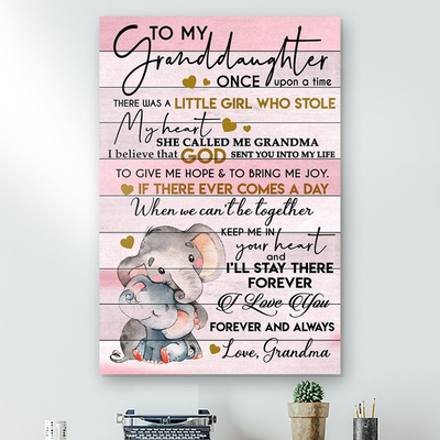 To My Granddaughter Elephant Canvas Gift For Daughter