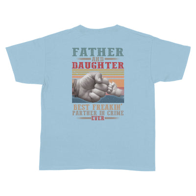 Father And Daughter Best Partner In Crime Light Blue Youth T-Shirt