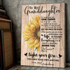 Sunflower Vertical Canvas Gift For Granddaughter