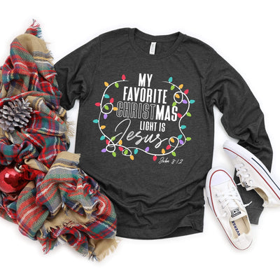 My Favorite Christmas Light Is Jesus Long Sleeve Tee Gift For Christmas
