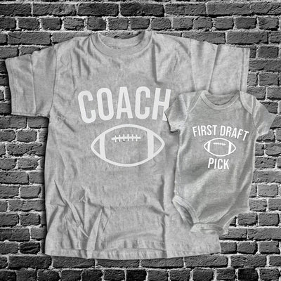 Daddy And Me Coach First Draft Pick American Football Matching Shirts - New Dad Shirts