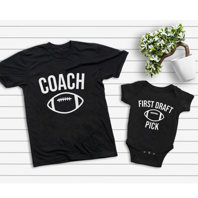 Daddy And Me Coach First Draft Pick American Football Matching Shirts - Dad And Baby Shirts