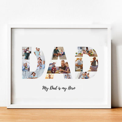 Personalized Dad Photo Collage Poster Canvas Gift For Dad