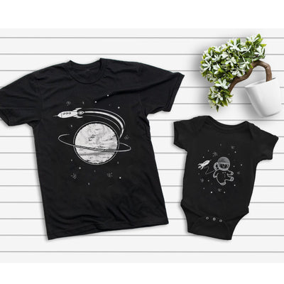 Daddy And Me Moon Astronaut Matching Shirts - Daddy And Baby Shirts