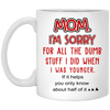 Mom I'm Sorry For All The Dumb Stuff I Did When I Was Younger Mug Gift For Mom