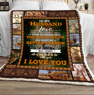 To My Husband The Day I Met You I Found My Missing Peace Blanket Gift For Husband For Hunting Lover
