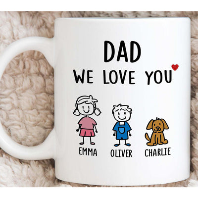 Personalized Dad We Love You Baby And Dog Mug Gift For Dad