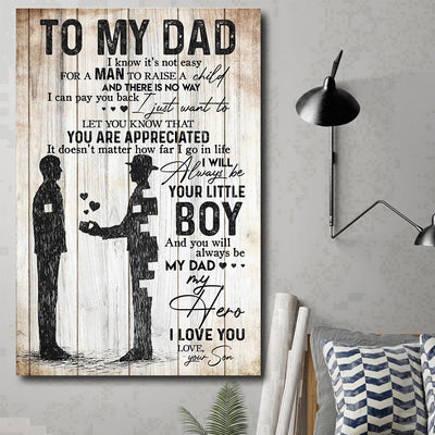 To my dad you are my hero from son poster gift for dad Gsge
