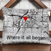 Personalized Gift For Him For Her The First Meeting Street Map Pillow Where It All Began
