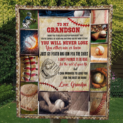 Qct - baseball to my grandson just go forth and aim for the skies - quilt