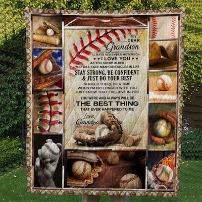 Baseball From Grandpa My Dear Grandson Stay Strong Be Confident Quilt Blanket