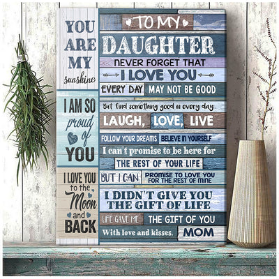 To My Daughter You Are My Sunshine Canvas Gift For Daughter