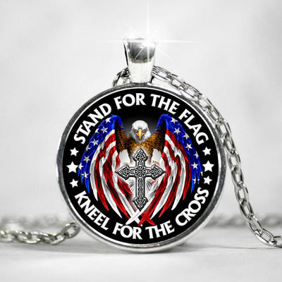 Stand For The Flag Kneel For The Cross Military Necklace - Gift For Dad