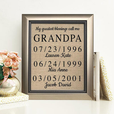 Personalized My Greatest Blessings Call Me Grandpa Poster Canvas - Gift For Grandfather