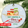 Personalized First Christmas As Mom And Dad Ornament