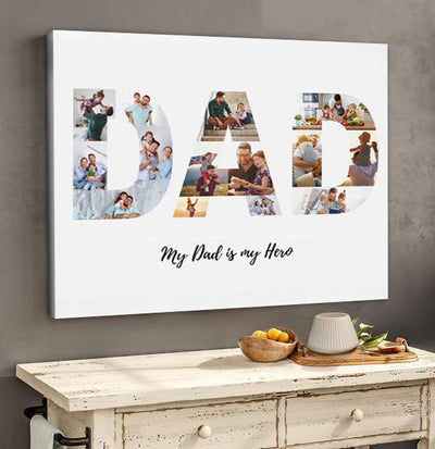 Personalized Dad Photo Collage Poster Canvas - Gift For Dad Gsge