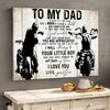 To My Dad From Son Biker Dad Motorcycles Lover Poster Canvas Gift For Dad - Gift For Dad From Son