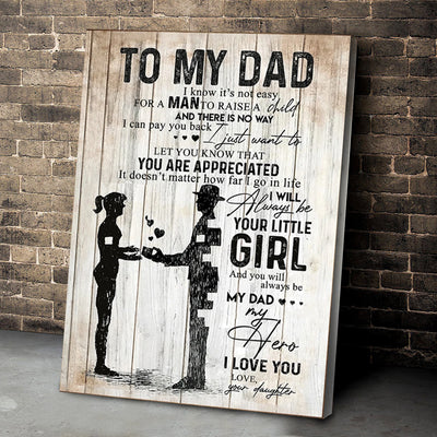 To My Dad You Are My Hero From Daughter Poster Gift For Dad