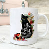 A Little Black Cat Goes With Everything White Mug With Flower