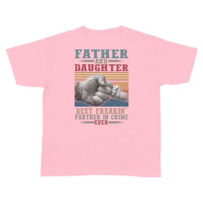 Father And Daughter Best Partner In Crime Light Pink Youth T-Shirt