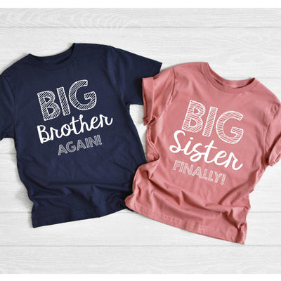 Big brother again big sister finally dad mom baby family matching shirt Baby annoucement gift