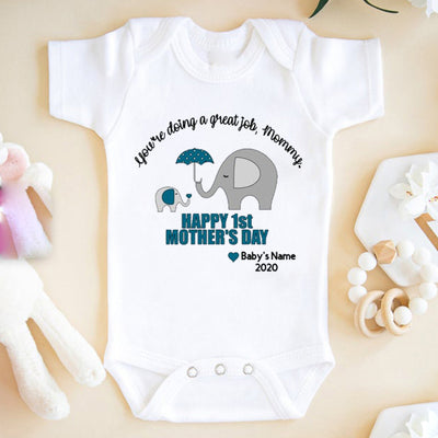 G2 Personalized Happy Mothers Day Elephant Onesie Baby Gift