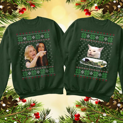 Women Yelling At A Cat Meme Ugly Christmas Sweater For Couple