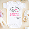 Happy 1st Mother's Day Baby Onesie (White/Black)