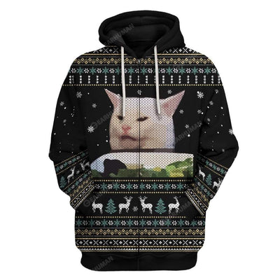 3D Ugly Woman Yelling At A Cat Custom Sweater Christmas Gift